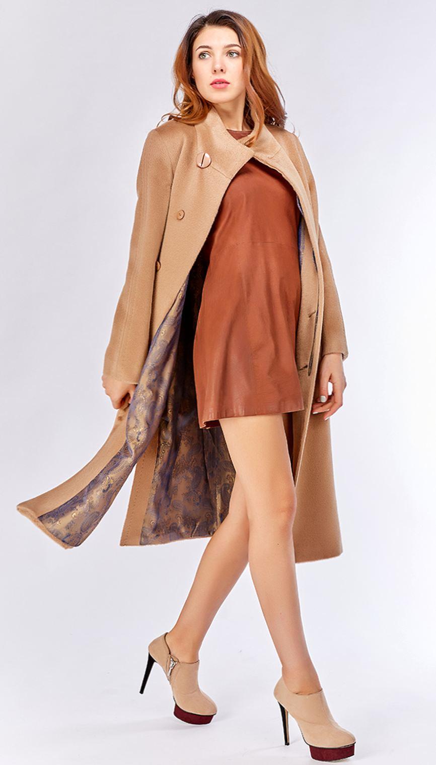 Пальто на запах из 100% альпака с накладными карманами